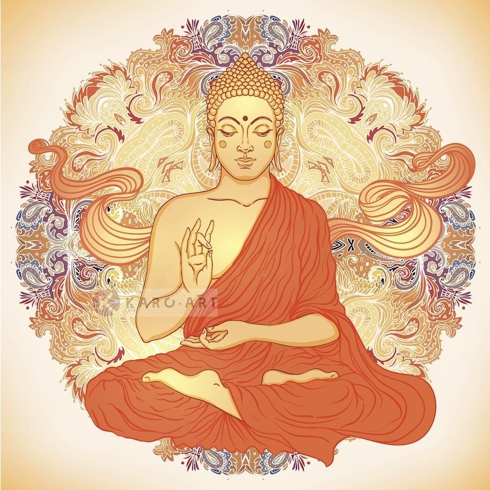 Schilderij - Boeddha Mandala , Multikleur , 3 maten , Wanddecoratie