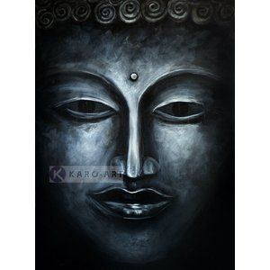 Karo-art Schilderij - Donkere Boeddha (print op canvas), Zwart wit , 3 maten , Wanddecoratie