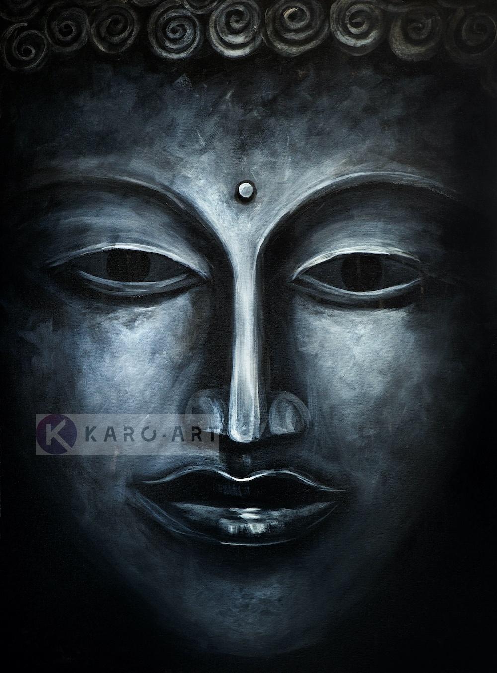 Schilderij - Donkere Boeddha (print op canvas)