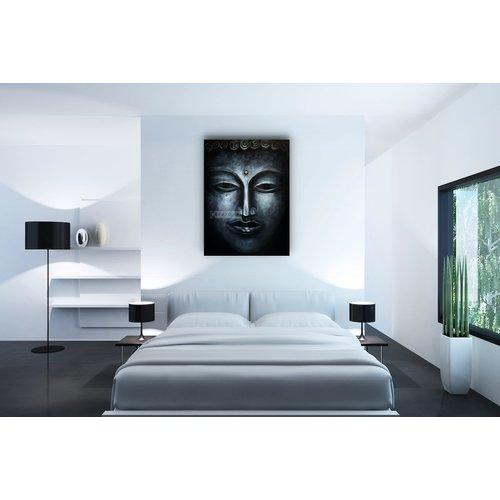 Karo-art Schilderij - Donkere Boeddha (print op canvas)