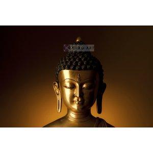 Karo-art Schilderij - Kalme Boeddha, Oranje Bruin , 3 maten , Wanddecoratie