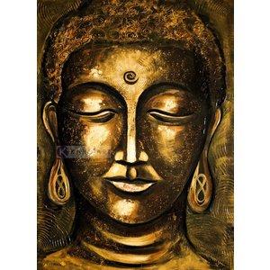 Karo-art Schilderij - Boeddha Verlichting (print op canvas) ,Geel Bruin , 3 maten , Wanddecoratie