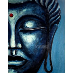 Karo-art Schilderij - Blauwe Boeddha (print op canvas) , Blauw zwart , 3 maten , Premium print