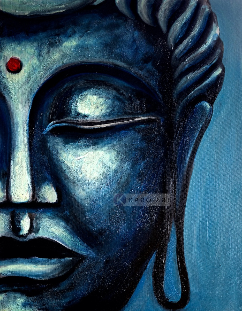 Schilderij - Blauwe Boeddha (print op canvas) , Blauw zwart , 3 maten , Premium print