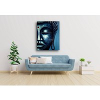 Karo-art Schilderij - Blauwe Boeddha (print op canvas)