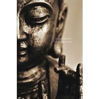 Karo-art Schilderij - Lachende Boeddha , Bruin beige , 3 maten , Premium print