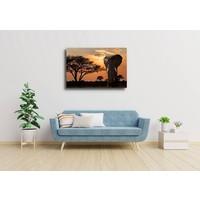 Karo-art Schilderij - Olifant bij zonsondergang