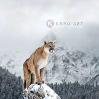 Karo-art Schilderij - Poema in de sneeuw , Multikleur , 3 maten , Wanddecoratie