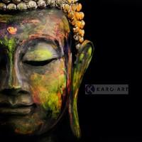 Karo-art Schilderij - Boeddha, Print op canvas , Multikleur , 3 maten , Wanddecoratie