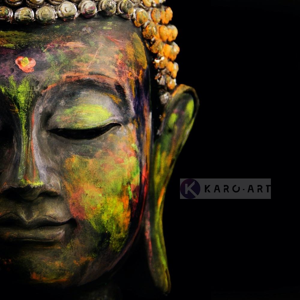 Schilderij - Boeddha, Print op canvas , Multikleur , 3 maten , Wanddecoratie