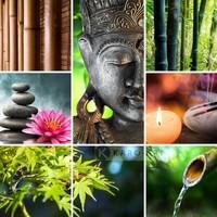 Karo-art Schilderij - Boeddha collage , Multikleur , 3 maten , Premium print
