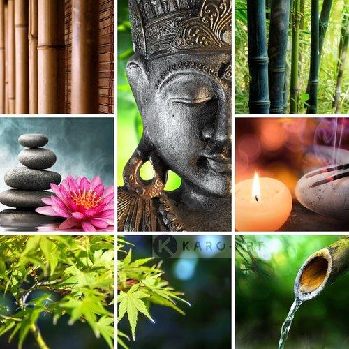 Karo-art Afbeelding op acrylglas - Boeddha collage