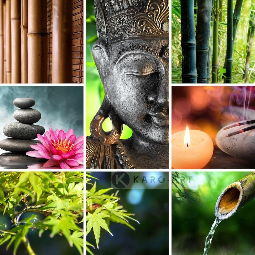 Afbeelding op acrylglas - Boeddha collage