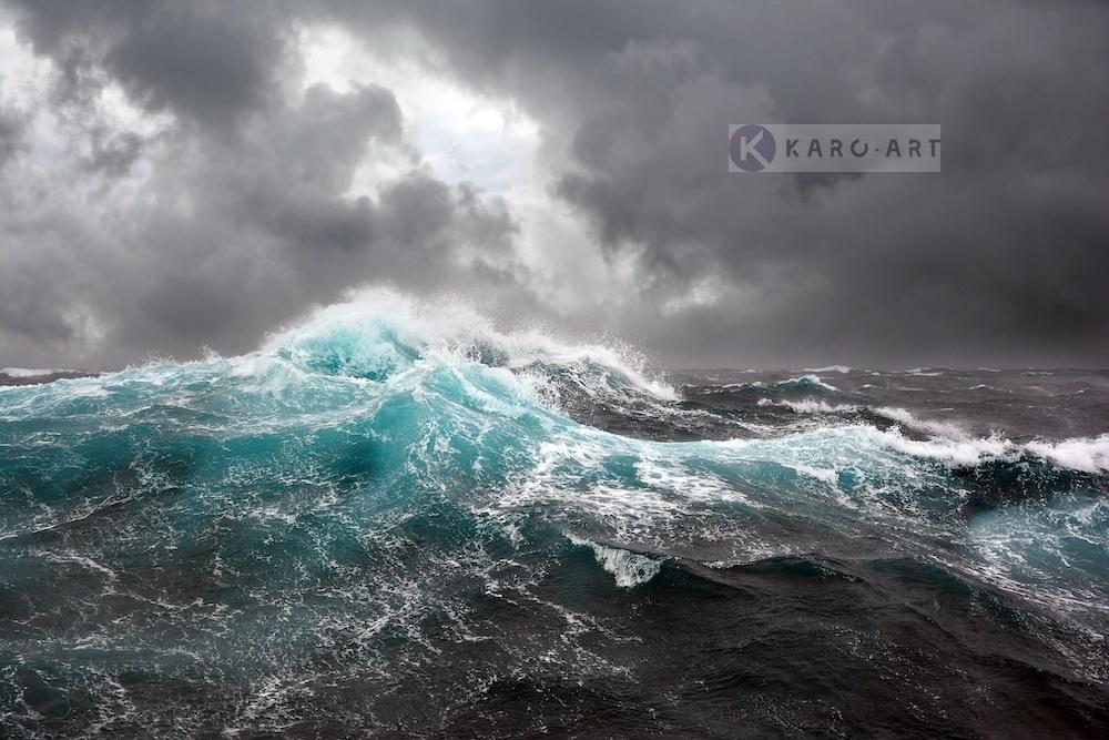 Karo-art Schilderij - Woeste zee , Blauw zwart wit , 3 maten , Wanddecoratie
