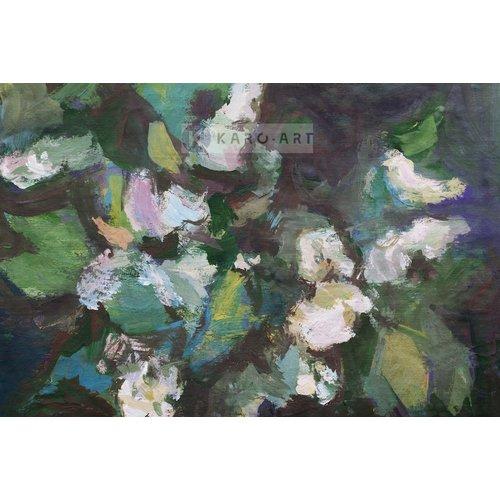 Karo-art Afbeelding op acrylglas  - Voorjaarsbloemen, olieverf schilderij geprint op canvas