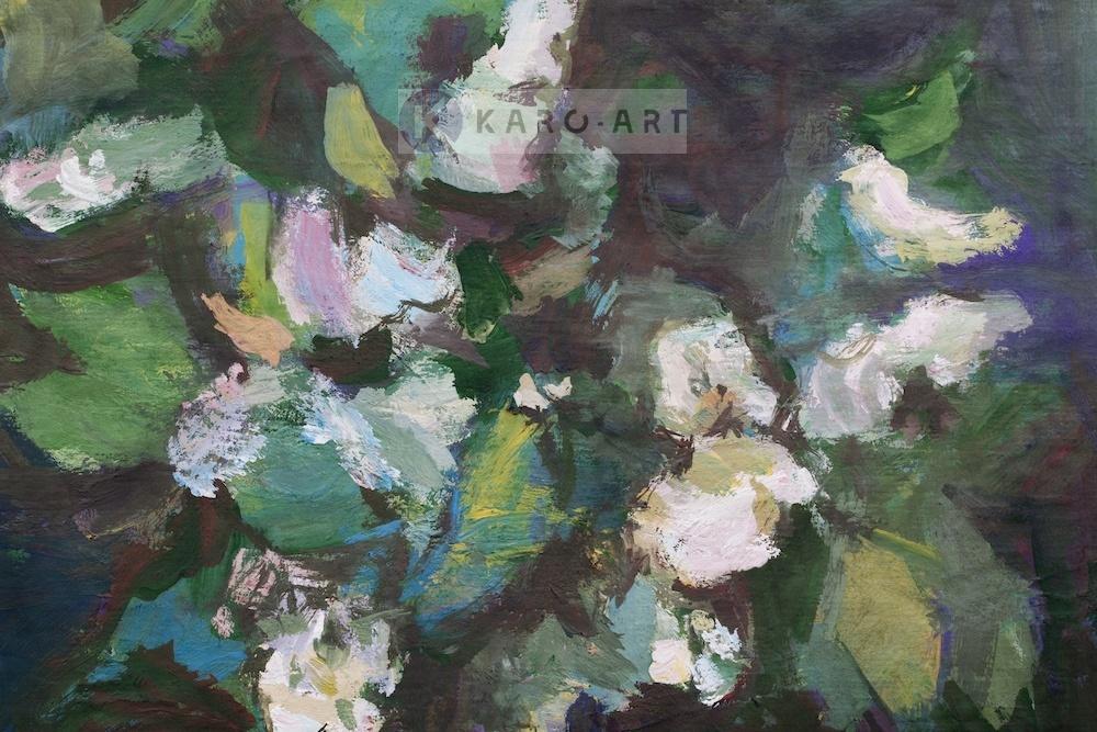 Afbeelding op acrylglas - Voorjaarsbloemen, olieverf schilderij geprint op canvas