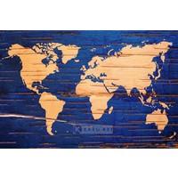 Karo-art Schilderij - Wereldkaart in blauw en geel , 3 maten , Wanddecoratie