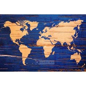 Karo-art Schilderij - Wereldkaart in blauw en geel