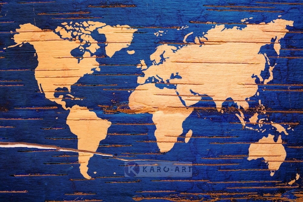 Afbeelding op acrylglas - Wereldkaart in blauw en geel