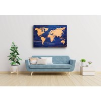Karo-art Afbeelding op acrylglas - Wereldkaart in blauw en geel