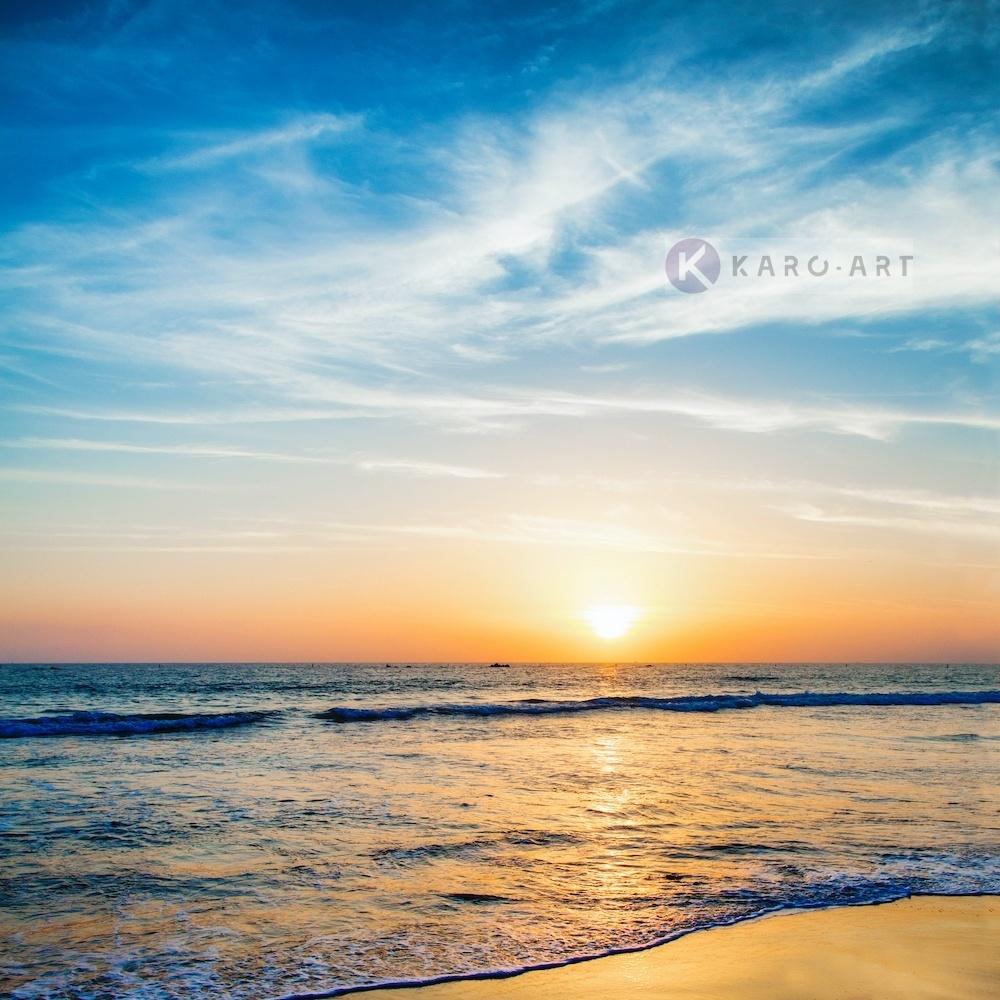 Schilderij - Zonsondergang boven zee