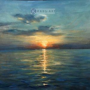 Karo-art Schilderij - Zonsondergang