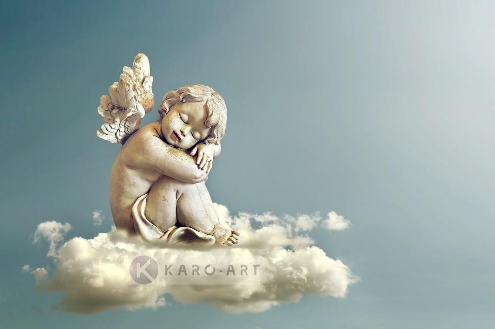 Afbeelding op acrylglas - Engel in de wolken