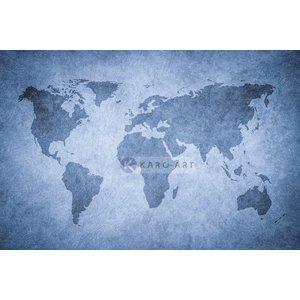 Karo-art Schilderij - Grunge wereldkaart, blauw