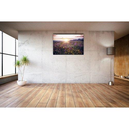 Karo-art Afbeelding op acrylglas - Bloemenveld in de vallei