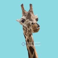 Karo-art Schilderij - Giraf, digitaal , Multikleur , 3 maten , Premium print