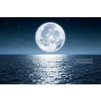 Karo-art Schilderij - Volle maan , Blauw wit , 3 maten , Premium print
