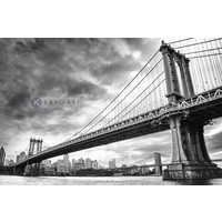 Karo-art Schilderij - Manhattan Bridge , Zwart wit , 3 maten , Wanddecoratie
