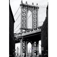Karo-art Schilderij - Manhattan Bridge II, Zwart wit , 3 maten ,Wanddecoratie