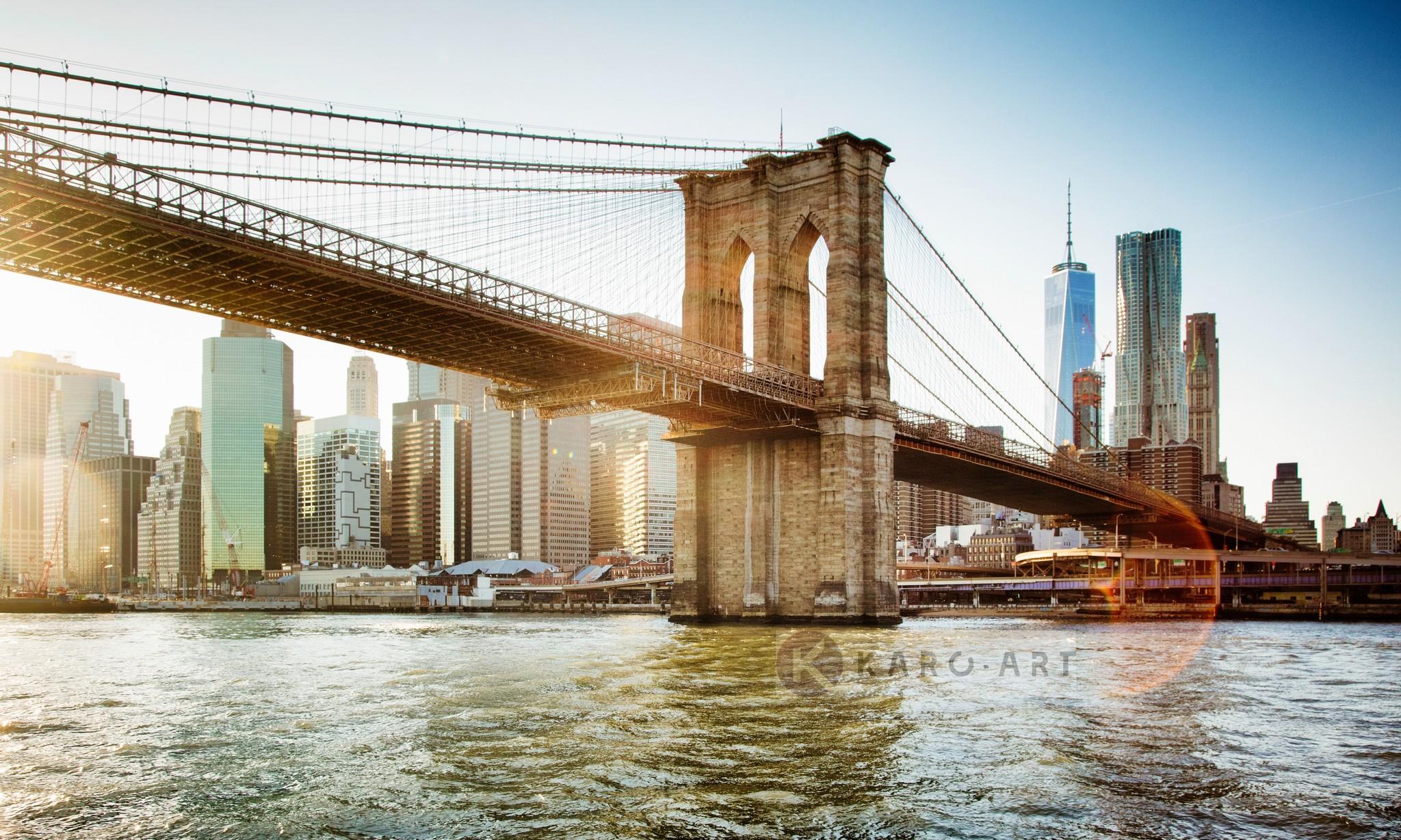Karo-art Schilderij - Brooklyn Bridge, New York, Multikleur , 3 maten , Wanddecoratie