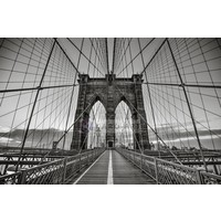 Karo-art Schilderij - Brooklyn Bridge Zwart Wit, New York, 3 maten , Premium print