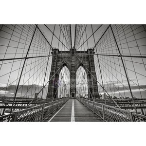 Karo-art Schilderij - Brooklyn Bridge Zwart Wit, New York