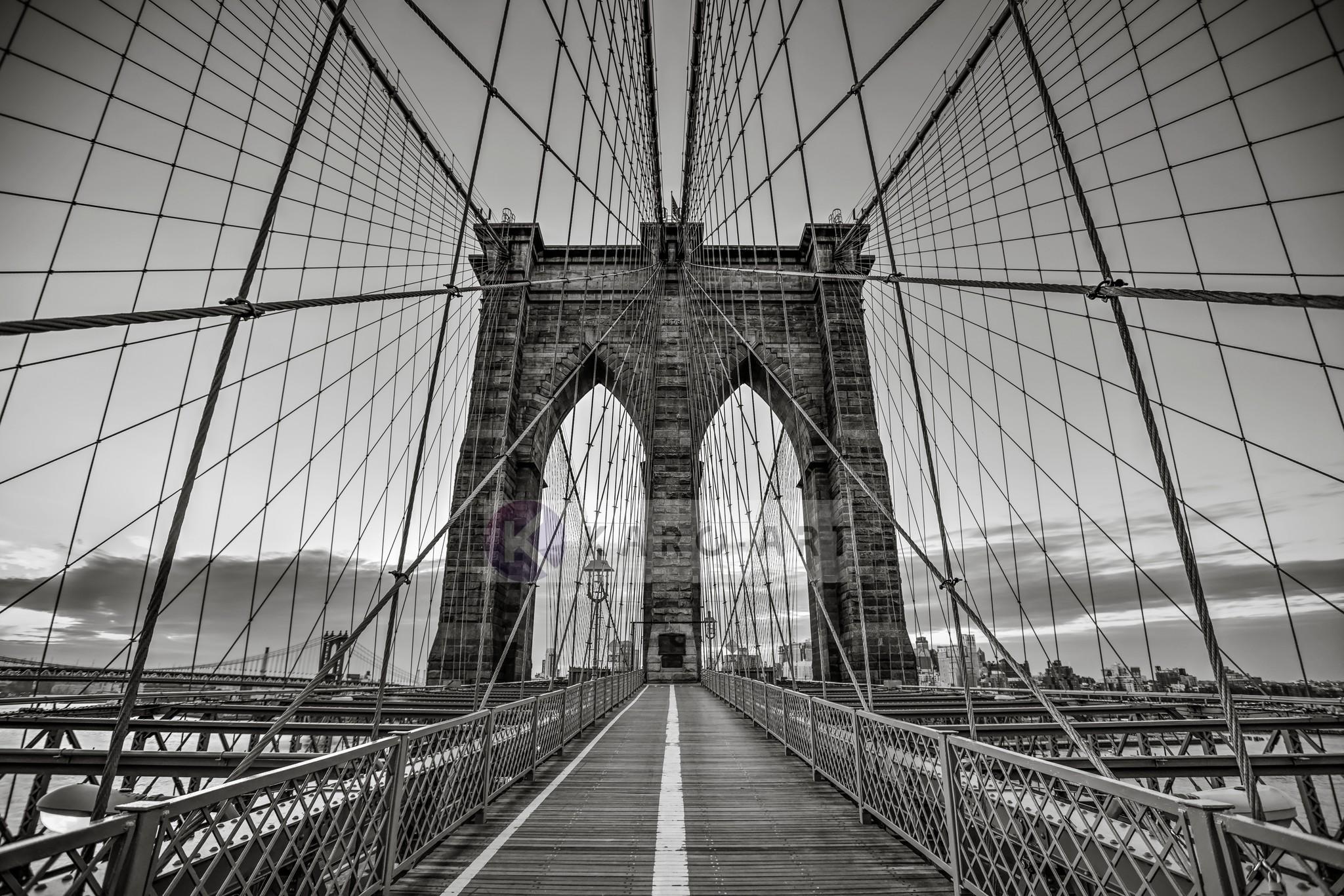 Schilderij - Brooklyn Bridge Zwart Wit, New York