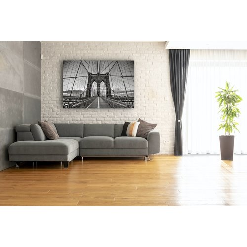 Karo-art Afbeelding op acrylglas - Brooklyn Bridge Zwart Wit, New York