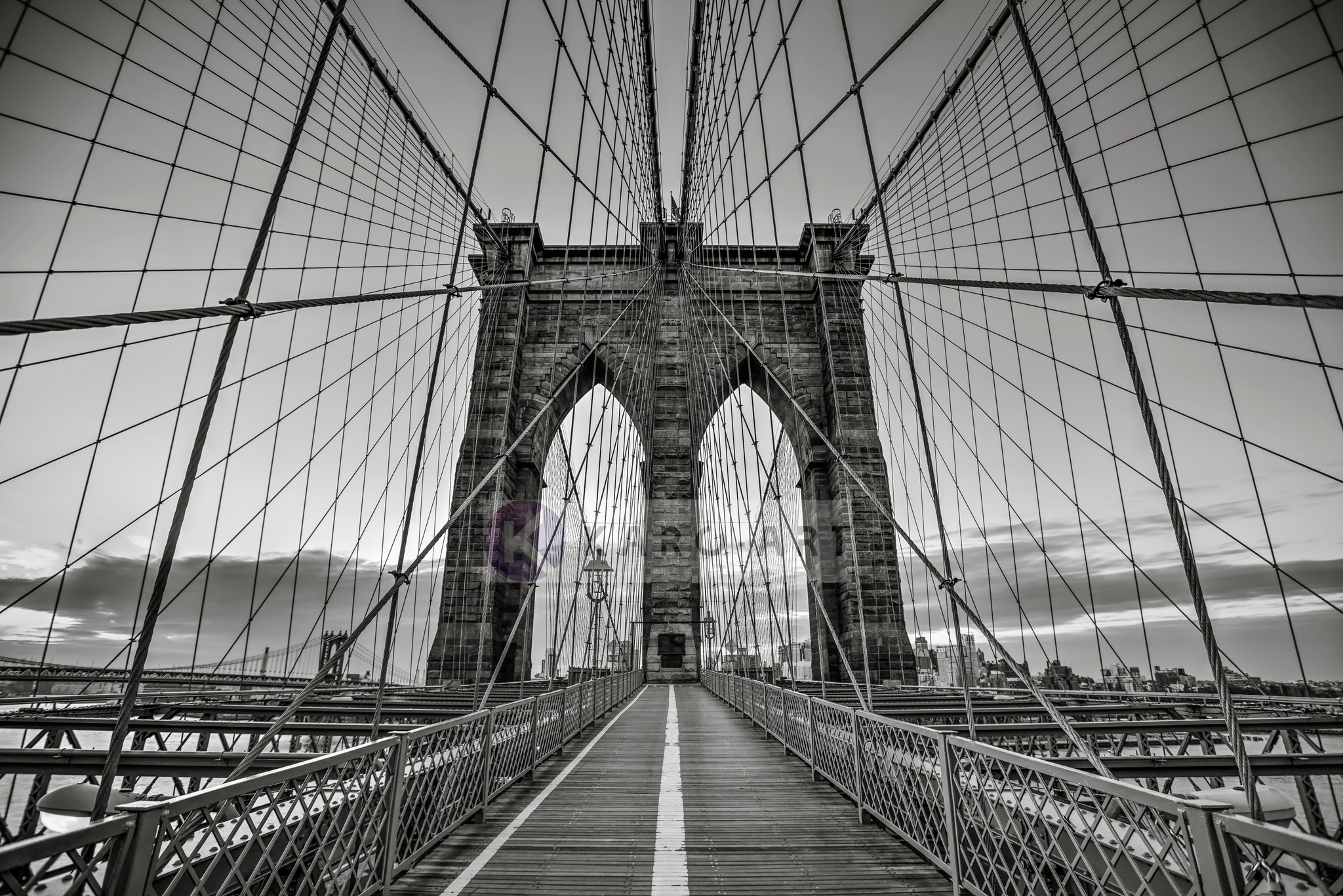 Afbeelding op acrylglas - Brooklyn Bridge Zwart Wit, New York