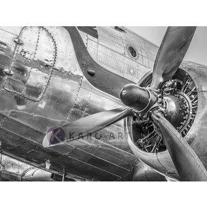 Karo-art Schilderij - Vintage propeller vliegtuig , Zwart wit , 3 maten , Premium print