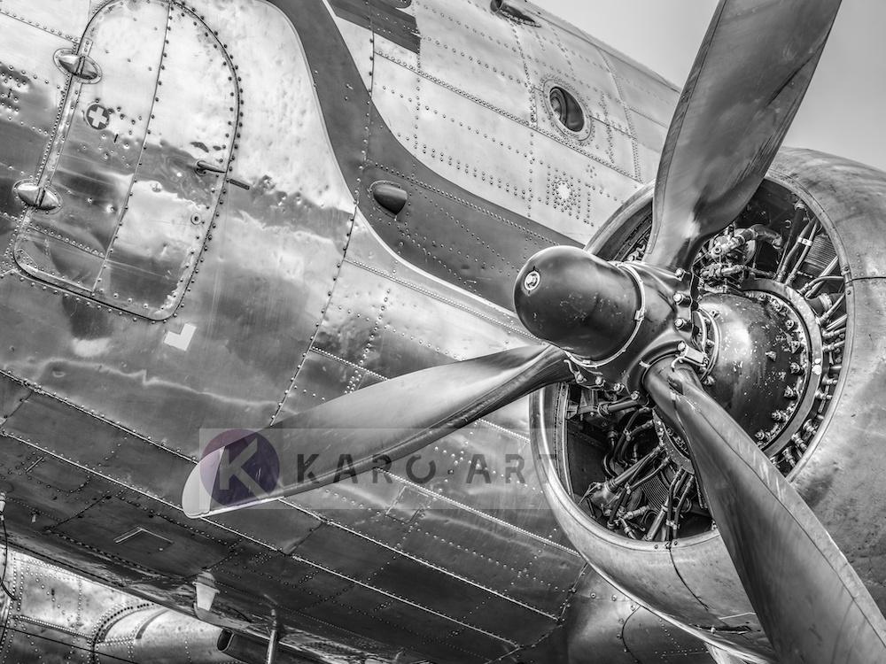 Schilderij - Vintage propeller vliegtuig , Zwart wit , 3 maten , Premium print