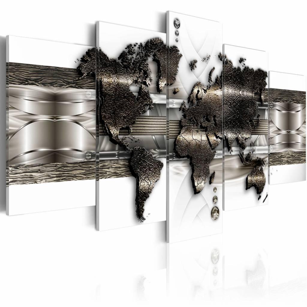 Schilderij - Metalen wereld kaart II , Goud/Zilver metaal look , 5 luik