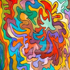 Karo-art Schilderij - Abstract Aquarel, print op canvas