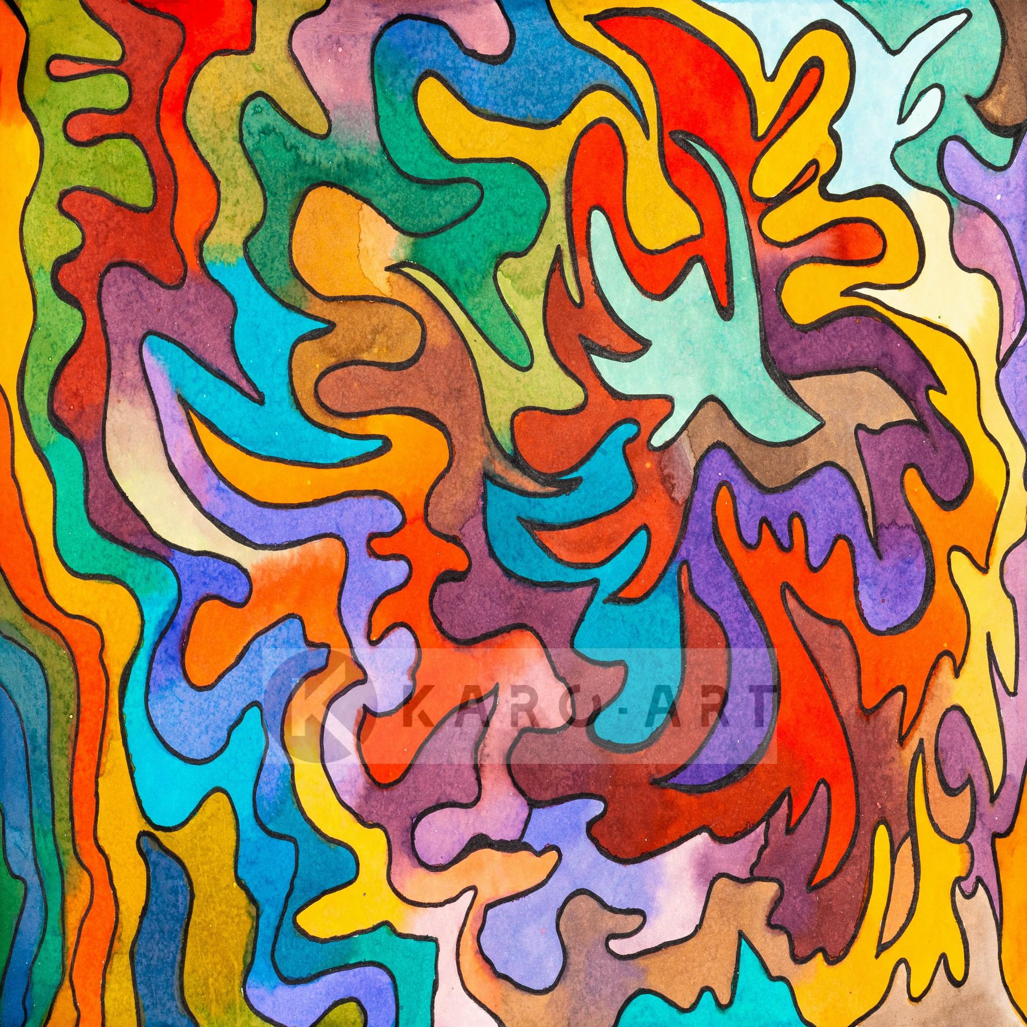 Schilderij - Abstract Aquarel, print op canvas , Multikleur , 3 maten , Wanddecoratie