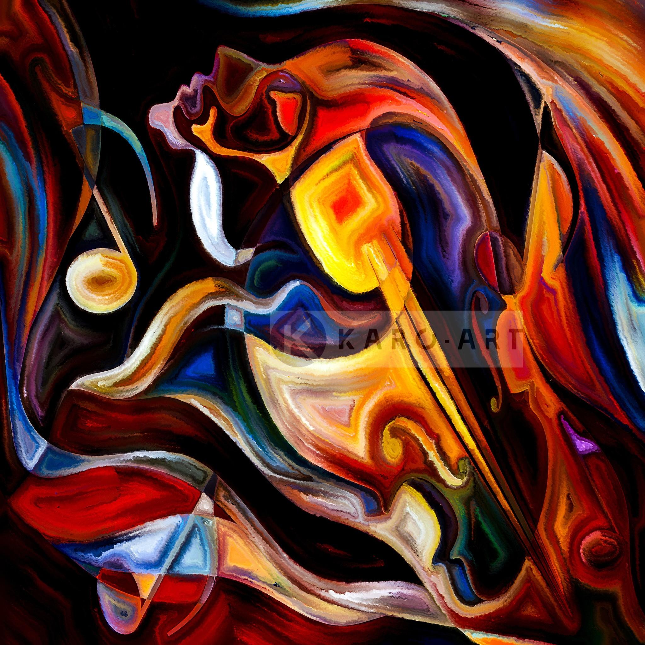 Schilderij - Abstract Muziek , Multikleur , 3 maten , Wanddecoratie