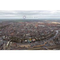 Karo-art Schilderij - Groningen, luchtfoto , Multikleur , 3 maten , Wanddecoratie