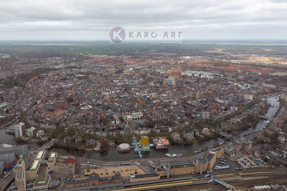 Schilderij - Groningen, luchtfoto , Multikleur , 3 maten , Wanddecoratie
