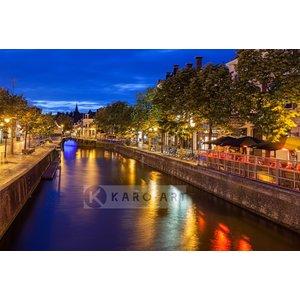 Karo-art Schilderij - Leeuwarden centrum in de avond