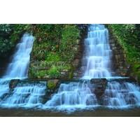 Karo-art Schilderij - Waterval , Blauw groen , 3 maten , Premium print