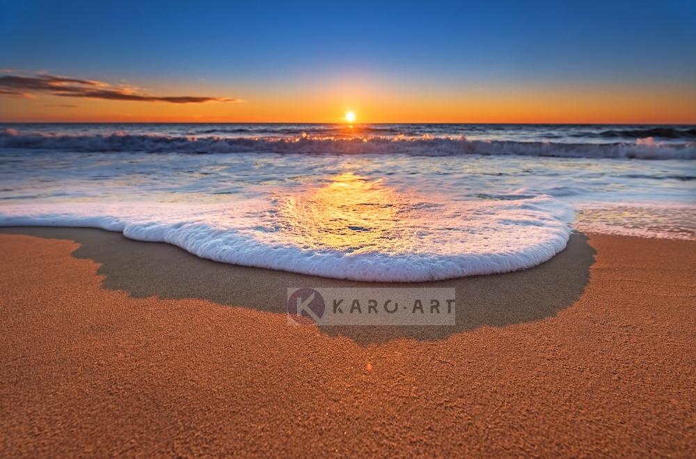 Schilderij - Zonsondergang aan het water